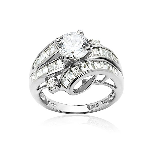 Sterling Silver Cubic Zirconia Channel Set Triple Row Fashion Ring-8