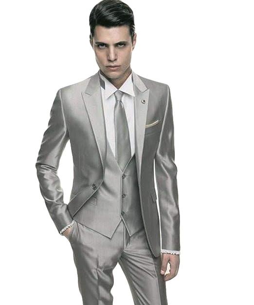 Amazon.com: WZW - Traje de boda para hombre de satén gris ...