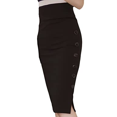 7e5c4d6aa1 Image Unavailable. Image not available for. Color: TEERFU Womens Pencil  Skirt Bodycon Stretch High Waist Knee Length Midi Skirt