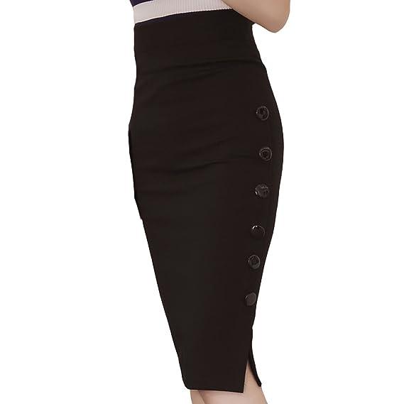 Falda lápiz de Teerfu por la rodilla, elástica y larga para mujer ...
