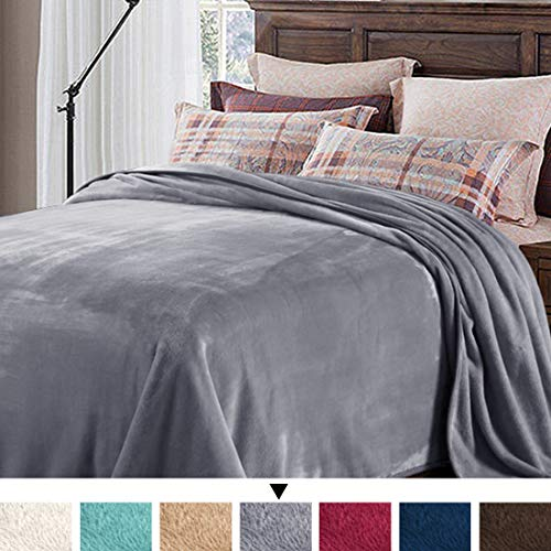 H.VERSAILTEX Soft Blanket Adult 330 GSM Fleece Blanket Luxury Travel Beach Blanket Grey Oversized Throw Blanket Super Soft Warm Fuzzy Bed or Couch Blanket King Size, 108