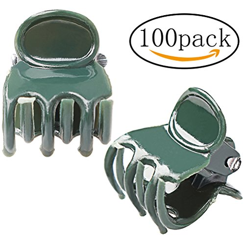 Orchid Medium Clip (Pengxiaomei 100 Pack Orchid Clips, Dark Green Plant Support Clips, Garden Flower Vine Clips for Supporting Stems, Vines, Stalks to Grow Upright and Makes Flowers Plants Vegetables Healthier)