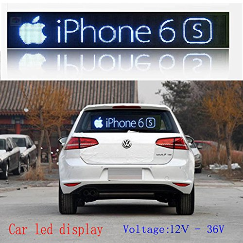 P4 LED Car display 21x6 inch RGB full color indoor LED sign support scrolling text image LED advertising screen display programmable led sign by DS ledsign