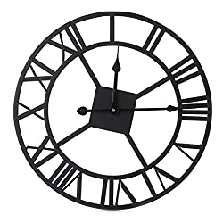 BetterM Large DIY Metal Wall Clock, 3D Roman Numerals for Home Living Room Decor Art