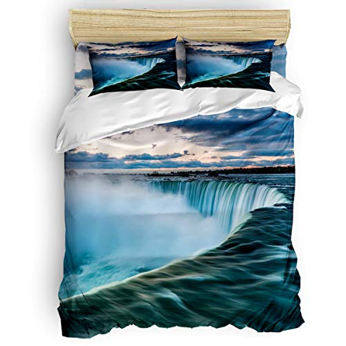 EZON-CH 4 Piece Duvet Cover Set Kids Bedding Set Bedroom Collection,Green Niagara Falls Cliff Soft Child Bed Sheet Set,Include 1 Duvet Cover 1 Bed Sheets 2 Pillow Cases Full Size