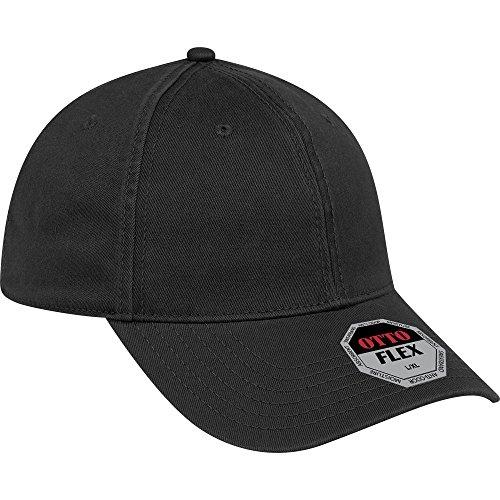 OTTO Flex Garment Washed Cotton Twill 6 Panel Low Profile Baseball Cap - Black