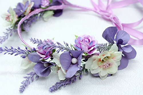 Lavender Floral Headband For Girls Women Head Wreath Boho Wedding Crown Bridal Flower Headpiece