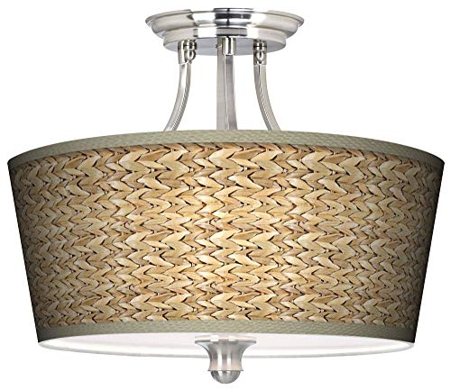 (Tapered Collection Tropical Ceiling Light Semi Flush Mount Fixture Brushed Nickel 18