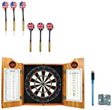 Trademark Global NCAA Brown dart cabinet with Darts and Board