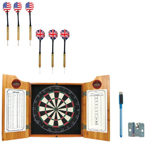 Trademark Global NCAA Brown dart cabinet with Darts and Board by Trademark Global