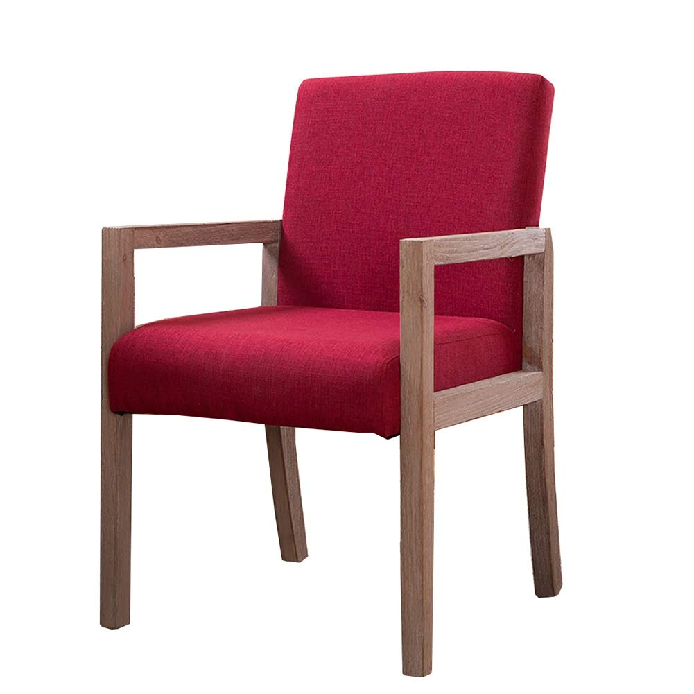 Dining Chair YXX Modern Upholstery Side With Arms Wood Fabric Armchair Table Chairs For Living Room Bedroom Color Red Size Set Of 2