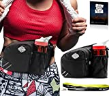 Black Fanny Pack Waist Bag with Water Bottle Holder for Men Women Cute & Large Smartphone Pocket | Belt Bag Suitable Even for Larger Sizes | Recommended for Running, Dog Walking, Hiking and Traveling