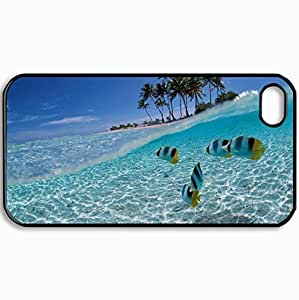 Customized Cellphone Case Back Cover For iPhone 4 4S, Protective Hardshell Case Personalized Cuba Fish Black