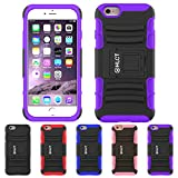 iPhone 6S Plus Case, iPhone 6 Plus Case, HLCT Rugged Shock Proof Dual-Layer Case with Built-In Stand Kickstand (2015) (Purple)