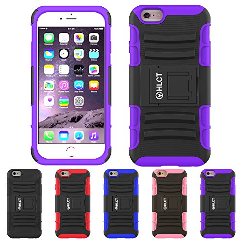 Price comparison product image iPhone 6S Plus Case, iPhone 6 Plus Case, HLCT Rugged Shock Proof Dual-Layer Case with Built-In Kickstand (Purple)