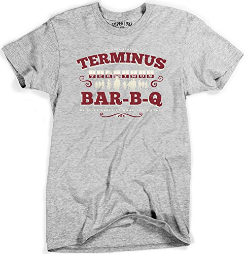 Mens Terminus BBQ Vintage Style Zombie Apocalypse T Shirt, Sport Gray, Small