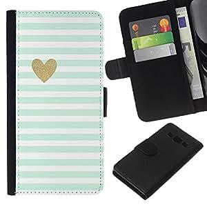 KLONGSHOP // Tirón de la caja Cartera de cuero con ranuras para tarjetas - Hoja Corazón minimalista Limpio Rayas - Samsung Galaxy A3 //