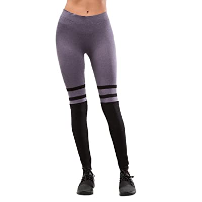 ABASSKY Stripe Casual Sports Yoga Pants 90 Degrees by Reflex 7/8 Length High Waisted Capri with Pockets for Women