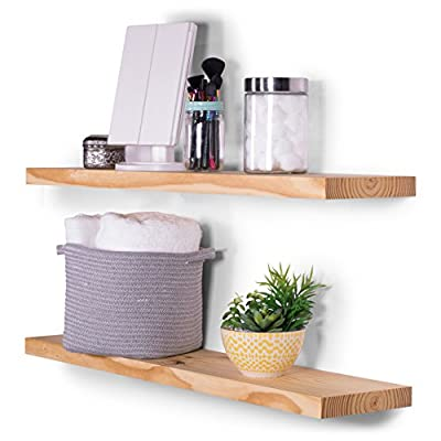 "DAKODA LOVE Wood Floating Shelves - Rustic Natural Stain and Clear Coat Finish - 8"" Deep with Clean Edge - USA Handmade (Set of 2) (36"", Natural) - TRUE FLOATING SHELVES with a rustic appearance with hand wiped natural color stain and clear coat finish. Sits flush against wall with 100% countersunk hidden brackets (includes all mounting hardware). Shelves measure: 36L x 8D x 1.38H (in inches) HANDCRAFTED with furniture grade, dry kilned pine wood. We source, cut, plane, joint, route, and sand our wood shelves in-house, with our own hands, to ensure the utmost consistency in aesthetics and durability. VERSATILE AND FUNCTIONAL, it's a great hanging shelf for your bedroom, bathroom, entryway, or exhibit family photos gallery style in a long hallway, or use in the kitchen to hold spices and jars. - wall-shelves, living-room-furniture, living-room - 51KwacMFIvL. SS400  -"