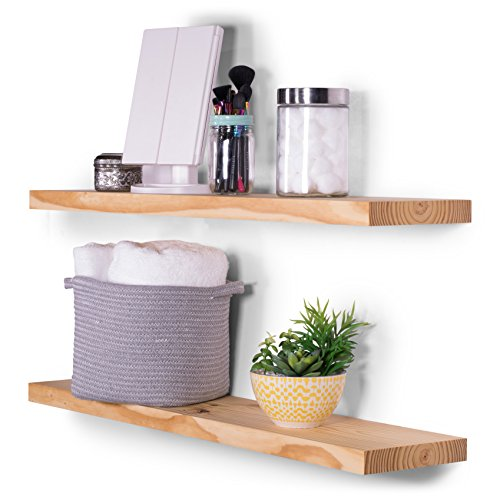 DAKODA LOVE Wood Floating Shelves - Rustic Natural Stain and Clear Coat Finish - 8