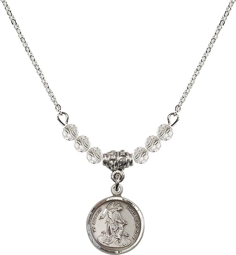 18-Inch Rhodium Plated Necklace with 4mm Crystal Birthstone Beads and Sterling Silver Guardian Angel Charm.