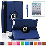 iPad 2/3/4 Case, AiSMei 360 Degree Rotating Stand Case Cover with Wake Up/Sleep Function For Apple iPad 2,the New iPad,iPad 4 [the 2nd,3rd,4th Gen 9.7-Inch iPad] [Case+Film+Stylus] -Navy Blue