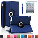 iPad 2 Case, iPad 3 Case, iPad 4 Case, AiSMei Rotating Stand Case Cover with Wake Up/Sleep For Apple iPad 2,the New iPad, iPad 4 [the 2nd,3rd,4th Gen 9.7-Inch iPad] [Bonus Film+Stylus] -Navy Blue