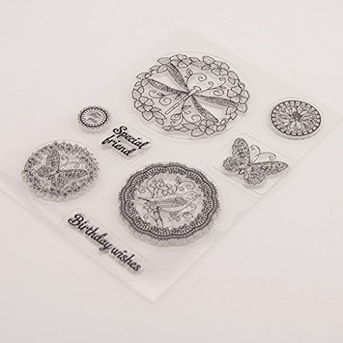 Seaskyer Clear Stamps for Cards Making Sheets Scrapbook Rubber Silicone Butterfly DIY Silicone Clear Stamp Cling Seal Scrapbook Embossing Album Decor