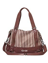 DouGuYan Women's Casual Striped Messenger Bags Fashion Large Capacity Canvas Tote Handbag with PU Bottom Light Coffee 44107