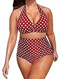 Baifern Women's 2 Pieces Halter Deep V Bodycon Bikini Sets Plus Size
