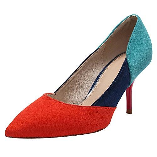 Jamron Women Elegant Pointed Toe Stiletto Heel Work Office Uniform Dress Shoes Sexy Wedding Evening Party Prom Pumps Orange