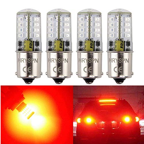 HGHC 1156 1141 1003 7506 Brilliant Red 5W BA15S Super Bright LED Bulb, 35W Equivalent, AC/DC12V, for Rv Tail, Brake Lights Turn Signal Blinkers (4Pack) (Red)
