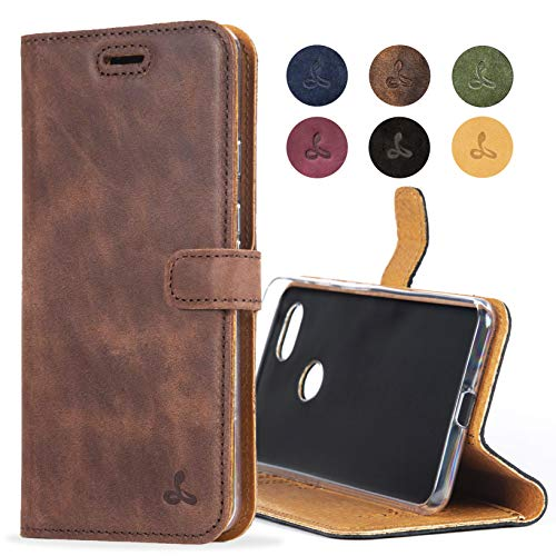 Google Pixel 3A XL Case, Genuine Leather Wallet with Viewing Stand and Card Slots, Flip Cover Gift Boxed and Handmade in Europe for Google Pixel 3A XL - (Brown)