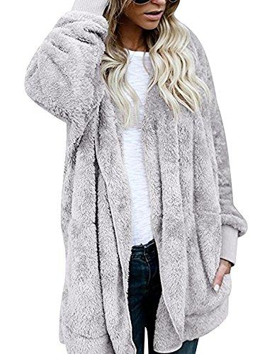 Flying Rabbit Women's Oversized Open Front Hooded Draped Pockets Cardigan Coat Faux Fur Sherpa - Cardigan Hooded Girls