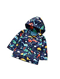 Kehen Boy's Girl's Dinosaur Print Zip Jacket Hooded Windproof Raincoat Toddler Baby Long Sleeve Hoodie Trench Coat