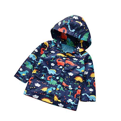Kehen Boy's Girl's Dinosaur Print Zip Jacket Hooded Windproof Raincoat Toddler Baby Long Sleeve Hoodie Trench Coat (#3 Blue, 3-4T)