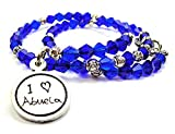 ChubbyChicoCharms I Love Abuela Child Handwriting Bicone Crystal Wrap Bracelet in Sapphire Blue