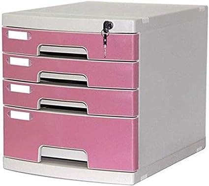Archivadores con cerradura y 4 cajones A4, caja de almacenamiento, color rosa, 29,5 x 39,4 x 32,5 cm: Amazon.es: Oficina y papelería