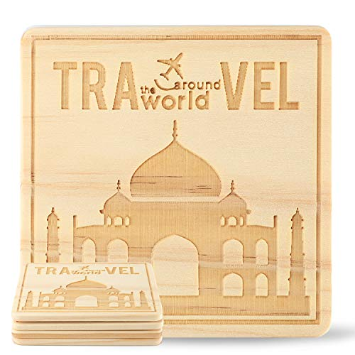 Mahal Slate - Kevancho Funny Wood Coasters for Drinks Absorbent Set of 4 PCS, Personalized Laser Pattern, Cute Square Table Mug Cup Mats for Car Home Office Bar, Housewarming Gifts (Taj Mahal)