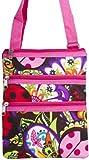 Colorful Ladybug Print Small Hipster Cross Body Shoulder Bag Purse Handbag with Pink Trim, Bags Central