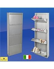 Slim Magik - Zapatero estrecho metalizado para 12pares de zapatos, no requiere montaje