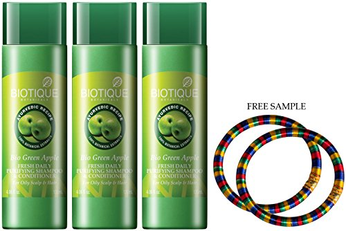 "Price comparison product image Biotique Fresh Daily Purifying Shampoo & Conditioner - Green Apple-120ml - (Pack of 3) - ""Free Expedited Shipping via DHL Express"" - Delivery in 3-7 days - with Free Product Sample"