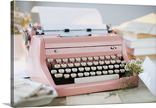 """Canvas On Demand Premium Thick-Wrap Canvas Wall Art Print entitled Letters by antique typewriter 24""""x16"""""""