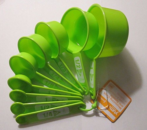Pickup Bradshaw 9 Pc. Measuring Cups & Spoons Set All On One Ring Dishwasher Safe Green (Green) cheapest