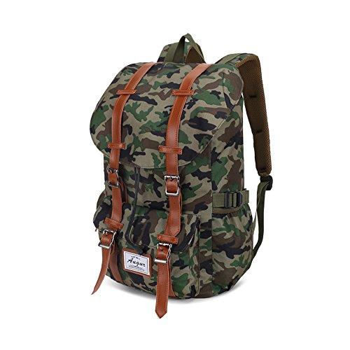 """VRIKOO Casual Daypacks Outdoor Travel Hiking Shoulder Backpack 14"""" Laptop Bag for Men and Women Camuflaje Verde"""