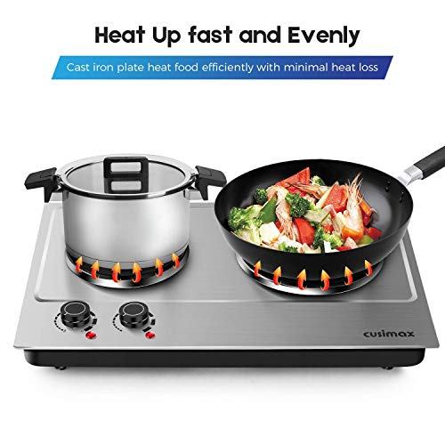 Cusimax Hot Plate Electric Burner Double Burner Cast Iron Heating Plate Portable Double Burner Outdoor Electric Stove 1800W with Adjustable Temperature Control Non-Slip Rubber Feet Black Stainless Steel Easy To Clean Upgraded Version by CUSIMAX-cordial (Image #5)