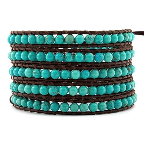 (Chan Luu Turquoise on Brown Leather Wrap Bracelet)
