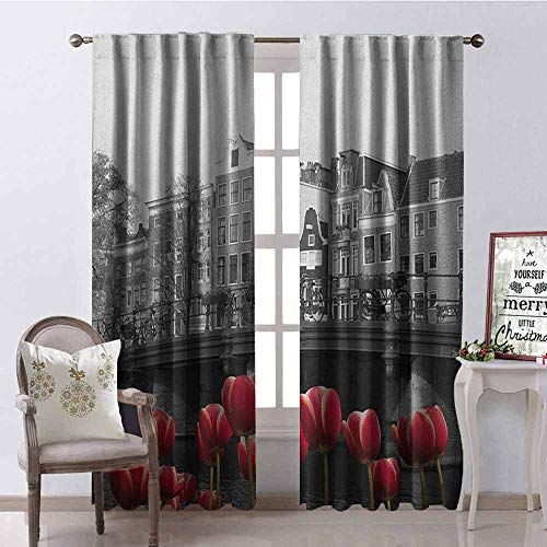 GloriaJohnson Black and White Blackout Curtain Monochrome Photo of Amsterdam Canal with Red Tulips and Houses 2 Panel Sets W42 x L90 Inch Black White and Red
