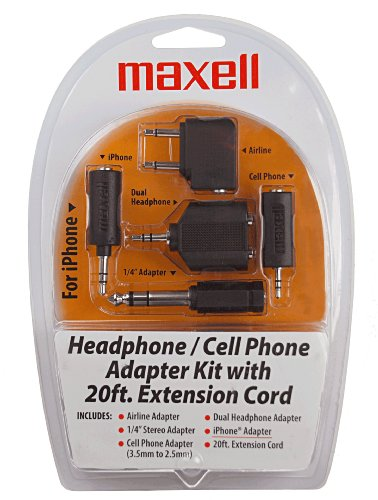Maxell Hp21 Headphone and Cell Adapter Kit (190398) - Airplane Adapter For Headphones