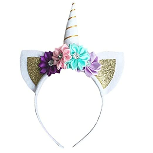 Cute Girls Toddler Baby Flower Unicorn Horn Holiday Party Hair Band Hoop  Headband Headdress (Gold 50d5acc3b0e